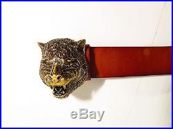 Gucci Brown Studded Belt with Feline Buckle Retail $1,390 2017