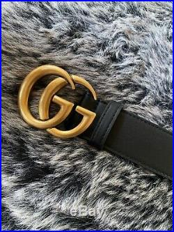 Gucci Double G Buckle Smooth Leather Waist Hip Belt 85/34
