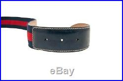 Gucci Fabric Buckle Belt Blue And Red Stripe Belt Size 90