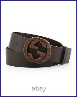 Gucci GG Brown Leather With Woodgrain Logo Buckle Belt Size-36/90