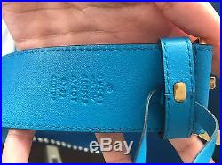 Gucci GG Buckle Turquoise Blue Leather Belt- rare
