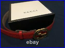 Gucci GG Gold Buckle Red Leather Pattern Mens Belt 30-32 (105)