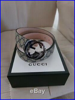 Gucci GG Supreme Mens Belt With G Buckle AUTHENTIC
