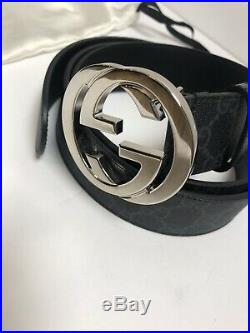 Gucci GG Supreme Mens Belt With G Buckle Size 110/44 Black / Gray Authentic