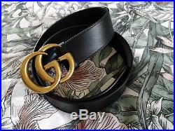 Gucci GG buckle belt black leather marmont size 32