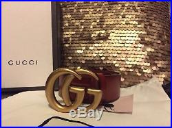 Gucci Gold Buckle Brown Leather Belt 100cm 40in Fits 34-36 Men (unisex)