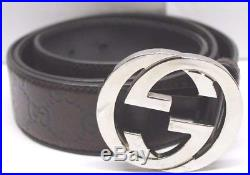Gucci Guccissima Brown Leather Interlocking Gg Palladium Buckle Belt 95/38