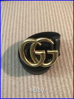 Gucci Leather Belt With Double G Buckle Size 44/110 100% Authentic