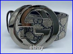 Gucci Leather Blue and Beige Belt 100/40 Made in Italy