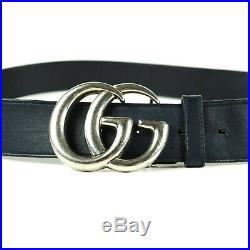Gucci Marmont GG Belt Navy Blue Leather Silver Buckle 105 CM 42