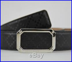 Gucci Men's Black Diamante Leather Belt withsilver Rectangular Buckle 162946 1000