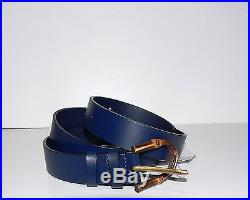 Gucci Men's Blue Leather Bamboo Buckle Belt 105 42 NWT $455
