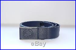 Gucci Men's Blue Leather GG Buckle Belt 95 38 NWT