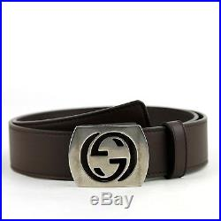 Gucci Men's Cocoa Brown Leather Belt withCutout Interlocking G Buckle 387031 2140