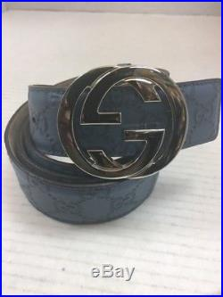 Gucci Men's Guccissima GG Blue Leather Belt w Silver Buckle size 110 44