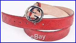 Gucci Men's Guccissima Leather Belt With Interlocking G Buckle, Red, MSRP $395