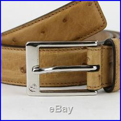 Gucci Men's Ostrich Yellow Leather Belt withSquare Silver Buckle 95/38 345658 7723
