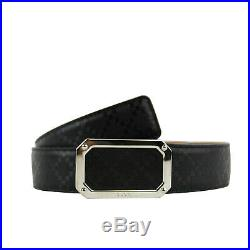 Gucci Men's Rectangular Black Diamante Leather Belt With Silver Buckle (80/32)