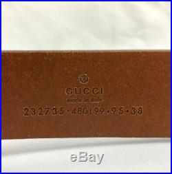 Gucci Men's Size 38 Euro 95 Leather Inset Pin Buckle Leather Belt Brown $345 NEW