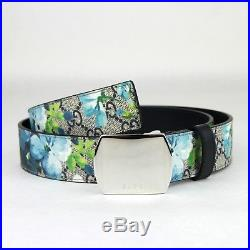 Gucci Men's/Unisex Blue Bloom Print Belt withSilver Buckle 424674 8499