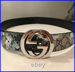 Gucci Mens Belt- Silver Buckle-Bloom Floral Size 42-Authentic