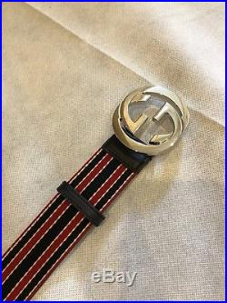 Gucci Mens Belt With BRB Web Interlocking G Buckle Navy / Red Authentic Leather