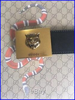 Gucci Mens Black Leather Belt With Gold Feline Buckle 90cm Size 30-32