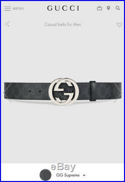 Gucci Mens GG Supreme belt with G buckle Size 110