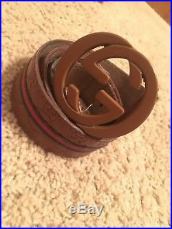 Gucci Mens Leather Belt Brown Buckle SZ 46 In Waist