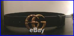 Gucci Mens Womens Leather belt with Double G buckle with snake Size 34-36 In