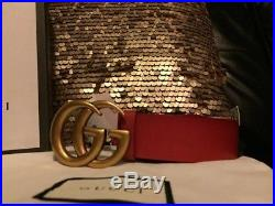 Gucci Red Leather Gold Brass Buckle Belt 85cm 34in Fits 28-30 Unisex