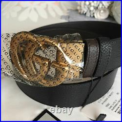 Gucci Reversible Belt Black / Brown Gold GG Buckle size 75 fits 24-26