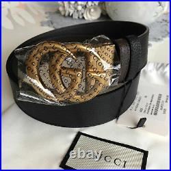 Gucci Reversible Belt Black / Brown Gold GG Buckle size 95 fits 32-34