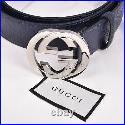 Gucci Signature Leather belt NAVY + SILVER buckle SIZE 38 100 % 100 % AUTHENTIC