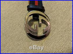 Gucci Strip Web Belt Navy Blue Red Size 36 Authentic Double G Buckle Leather