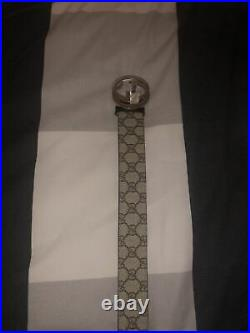 Gucci Supreme Belt Gg Silver Buckle (size 9036 With Proof Of Purchase)