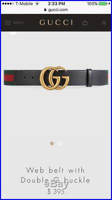 Gucci Web Belt With Double G Gold Buckle Size 90 MSRP $395