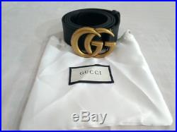 Gucci black leather belt with, gold GG buckle head belt size 100-40, 4cm