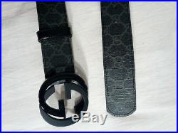 Gucci supreme black leather belt with double g buckle