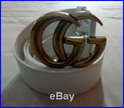 Gucci white leather belt with, gold GG buckle head belt size 100-40, 4cm