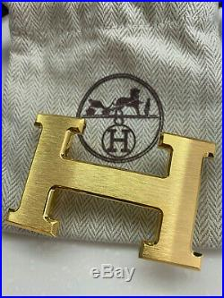 HERMÈS 32MM Belt Buckle GOLD BRUSHED H with Pouch