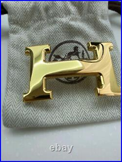 HERMÈS 32MM Belt Buckle GOLD POLISHED H with Pouch