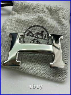 HERMÈS 32MM Belt Buckle SILVER POLISHED H with Pouch