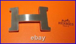 HERMES CONSTANCE LARGE 42mm H BUCKLE BRUSHED PALLADIUM SILVER TONE FINISH