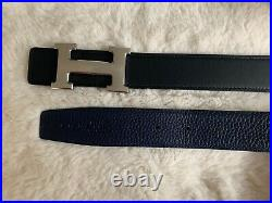 HERMES Constance 32mm Belt Size 95cm Navy and Black with silver Brushed Buckle
