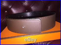 HERMES H Leather Belt Silver Buckle Black/Brown AUTHENTIC 80 30 Waist