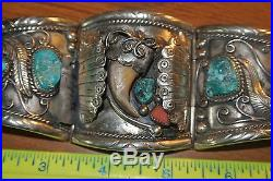 Heavy Mens Indian Sterlin Bracelet And Belt Buckle With Turquoise, Bear Claw, Co