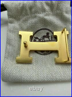 Hermes 32mm Belt H Buckle GOLD POLISHED with dust cover