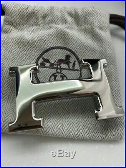 Hermes 32mm Belt H Buckle SILVER POLISHED with dust cover