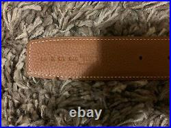 Hermes 38MM Belt in Tan & Black Leather With Gold Brushed Buckle Size 95cm